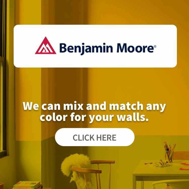 Benjamin Moore Paints - We can mix and match any color for your walls. Click here