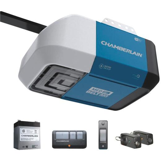 Chamberlain B-373 1/2 HP myQ Smart Belt Drive Garage Door Opener with Wi-Fi and Battery Backup