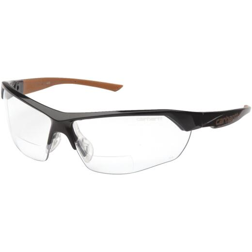 Carhartt Braswell Black Frame Reader Safety Glasses with Clear Anti-Fog Lenses, 2.0 Diopter
