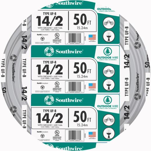 Southwire 50 Ft. 14 AWG 2-Conductor UFW/G Wire