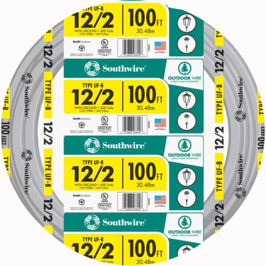Southwire 100 Ft. 12 AWG 2-Conductor UFW/G Wire