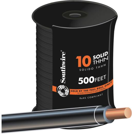 Southwire 500 Ft. 10 AWG Solid Black THHN Wire