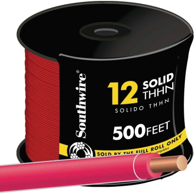 Southwire 500 Ft. 12 AWG Solid Red THHN Wire