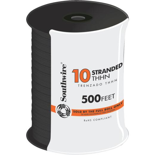 Southwire 500 Ft. 10 AWG Stranded Black THHN Wire