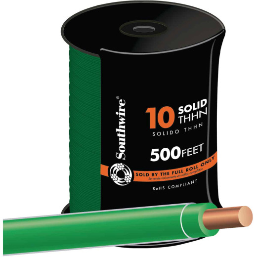 Southwire 500 Ft. 10 AWG Solid Green THHN Wire