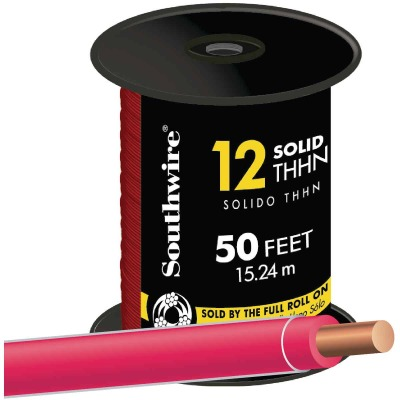 Southwire 50 Ft. 12 AWG Solid Red THHN Wire