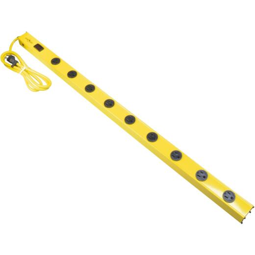 Yellow Jacket 9-Outlet Yellow Metal Power Strip with 5 Ft. Cord