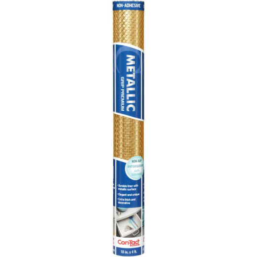 Contact 18 In. x 4 Ft. Gold Metallic Grip Premium Non-Adhesive Shelf Liner