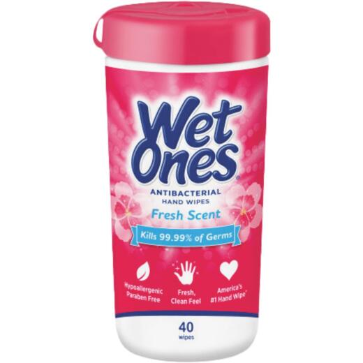 Wet Ones Antibacterial Hand Cleaning Wipes Canister (40 Count)