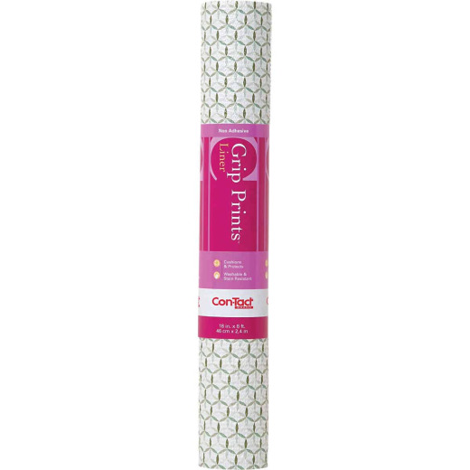 Con-Tact Grip Print 18 In. x 4 Ft. Twirl Mint Non-Adhesive Shelf Liner