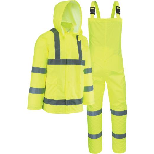 West Chester XL 3-Piece Hi-Vis Yellow Rain Suit