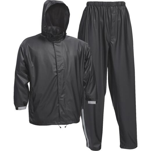 West Chester Medium 3-Piece Black Polyester Rain Suit