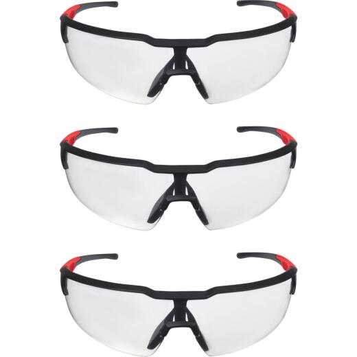 Milwaukee Red & Black Frame Safety Glasses with Clear Lenses (3-Pack)