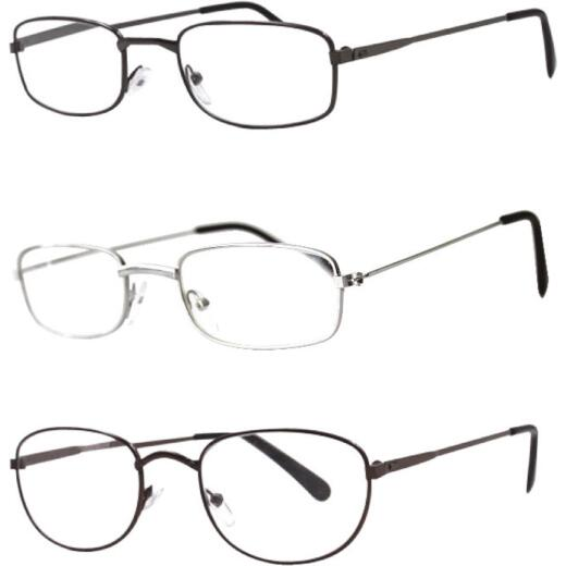 Axiom International 3.00 Diopter Metal Frame Reading Glasses